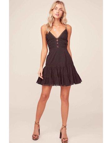 ASTR THE LABEL PAULINE CROCHET TRIM MINI DRESSES BLACK MT: M
