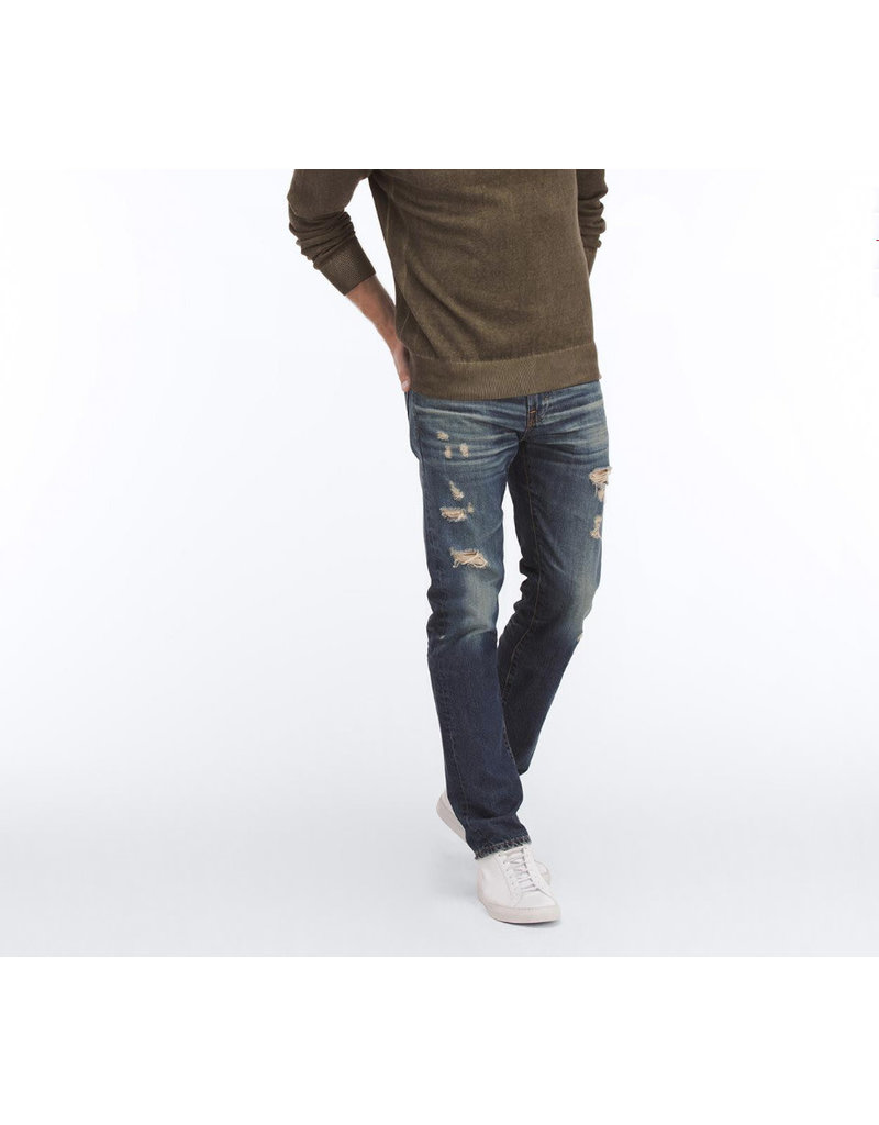 ADRIANO GOLDSCHMIED HEREN THE MATCHBOX SLIM STRAIGHT RIPPED BLUE JEANS