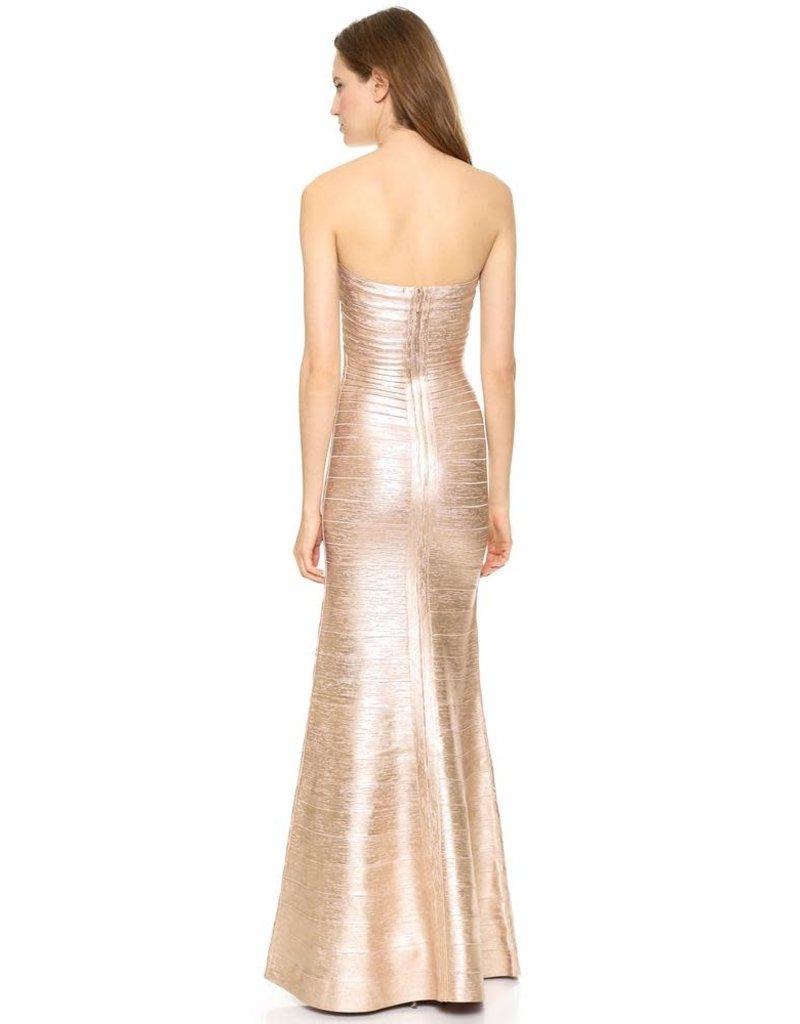 HERVE LEGER SARA WOODGRAIN DRESSES FOIL GOLD COMBO S