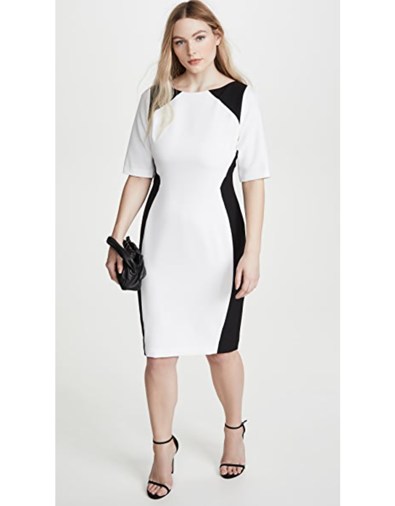 BLACK HALO WOLFE CB SHEATH CUT BLACK/WHITE DRESSES