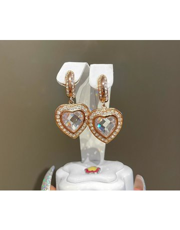 LAUREN G ADAMS ROSE GOLD CLASSIC CHARM HEART EARRINGS ROSE GOLD OS