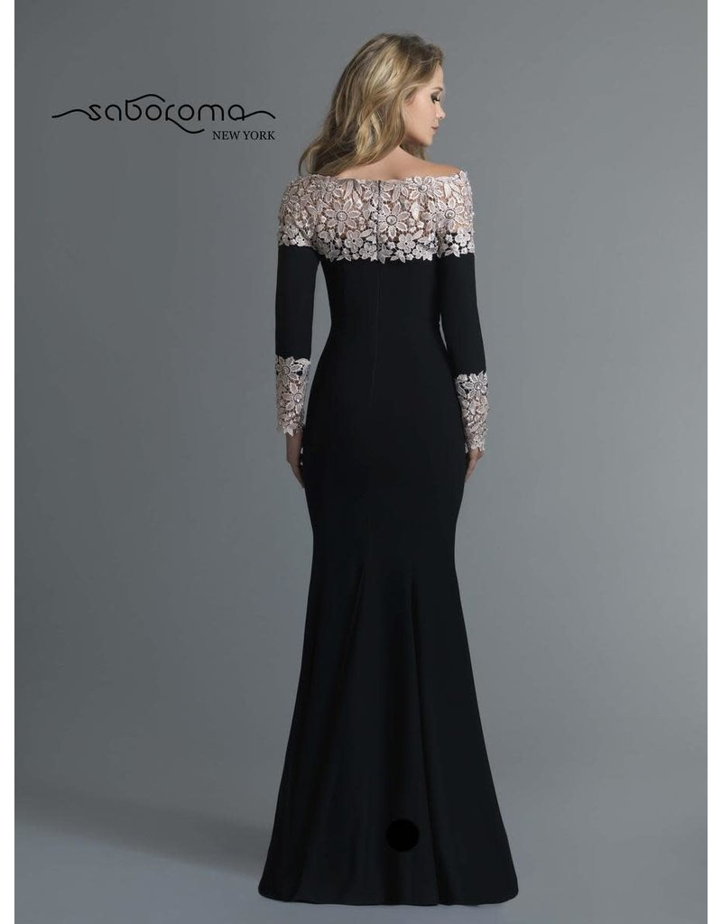 SABOROMA BLACK GOWN WITH BEIGE LACE NECKLINE AND SLEEVE WITH STONES GOWNS MT:12