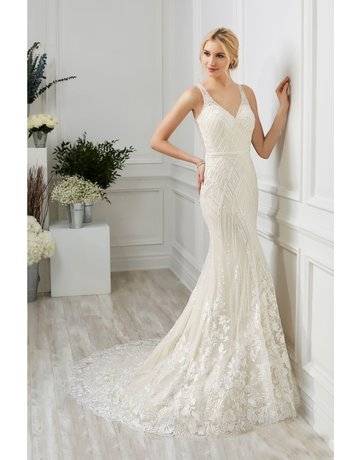 ADRIANNA PAPELL PLATINUM 31103 SLIM BEADED FLORAL LACE WEDDING GOWNS IVORY CAFE NUDE MT: 8