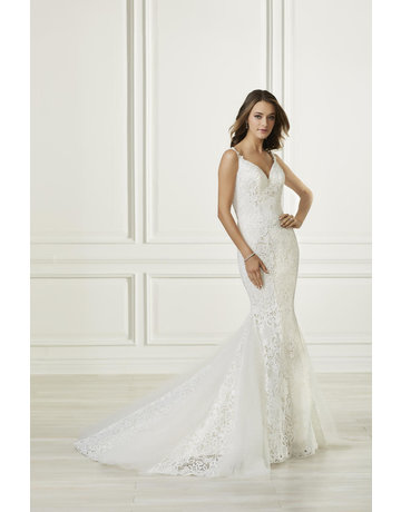 ADRIANNA PAPELL PLATINUM 31097 LACE STRAPS MERMAID WEDDING GOWNS IVORY OYSTER NUDE MT: 12