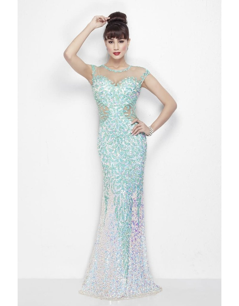 PRIMAVERA 9984 ENCHANTING SEQUINED LEAFY BEADED PATTERN GOWNS