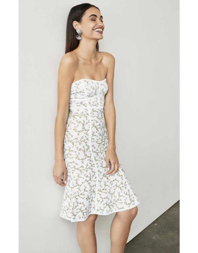 LYNNE JACQUARD STRAPLESS BODYCON WHITE WITH FLOWERS DRESSES