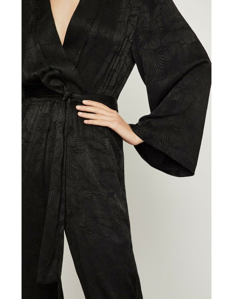 FAUX WRAP LONG SLEEVE BELTED JACQUARD JUMPSUITS
