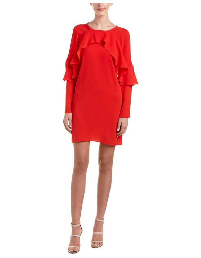 WOMANS RED RUFFLED SHIFT DRESSES