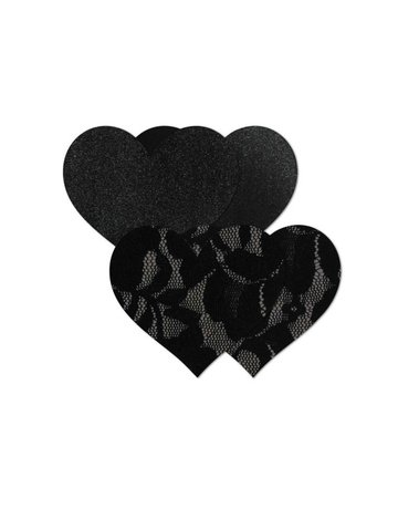 B-SIX BASIC HEART NIPPIES PASTIES 2 PACK UNDERWEAR ACCEORIES BLACK OS