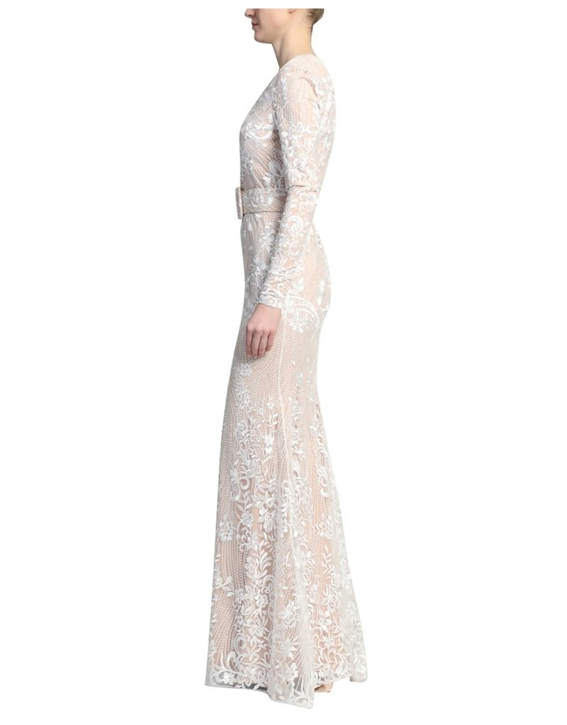 BADGLEY MISCHKA EMBROIDERED LONG SLEEVE BELTED GOWNS