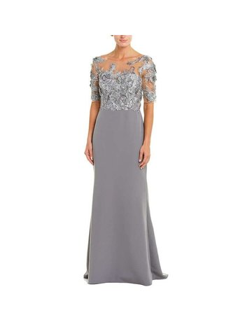 BADGLEY MISCHKA MESH FLORAL EMBROIDERED GOWNS CHARCOAL 2