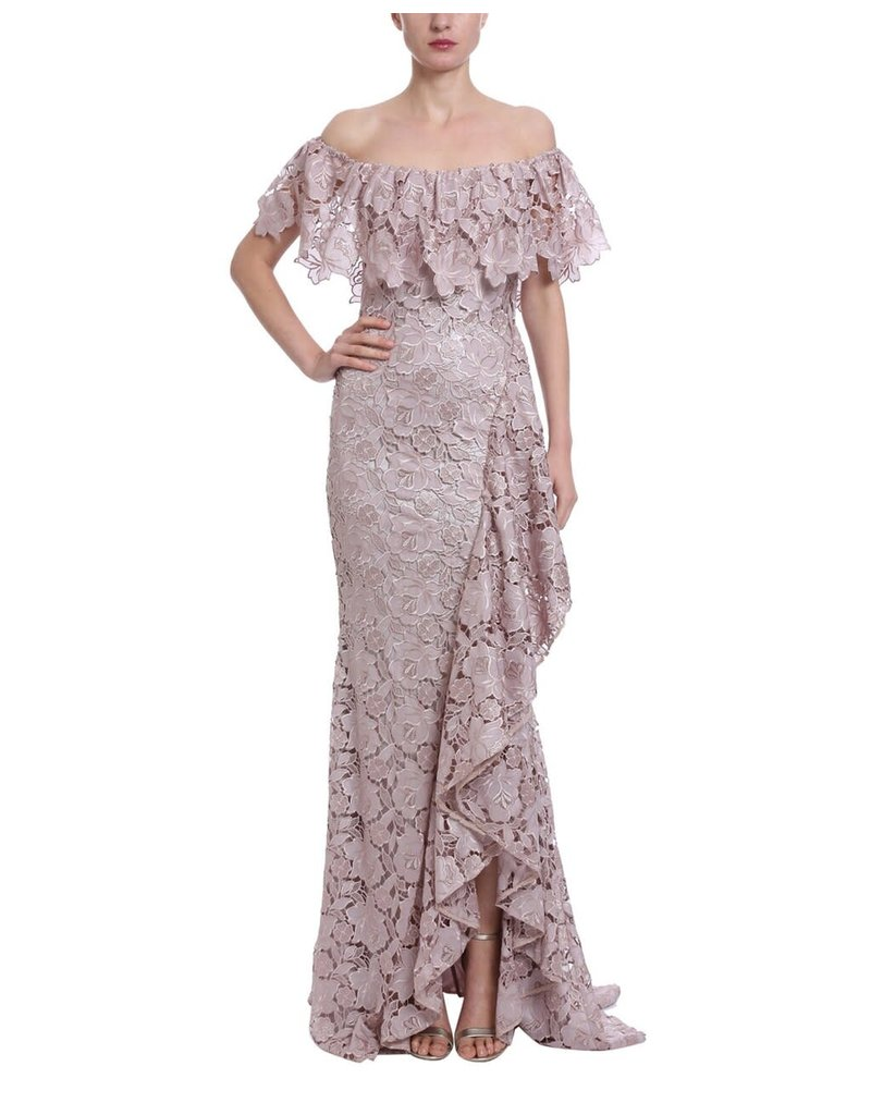 BADGLEY MISCHKA OFFSHOULDER FLORAL LACE RUFFLE GOWNS MAUVE 12