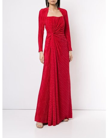 BADGLEY MISCHKA PLEATED DRAPE GOWNS RED 6