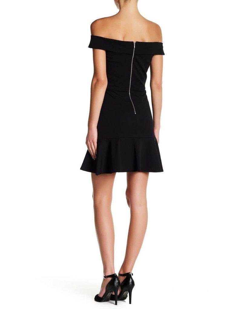 DIVERSEN SALE HEM PARTY OFF SHOULDER RUFFLE DRESSES BLACK CREPE M