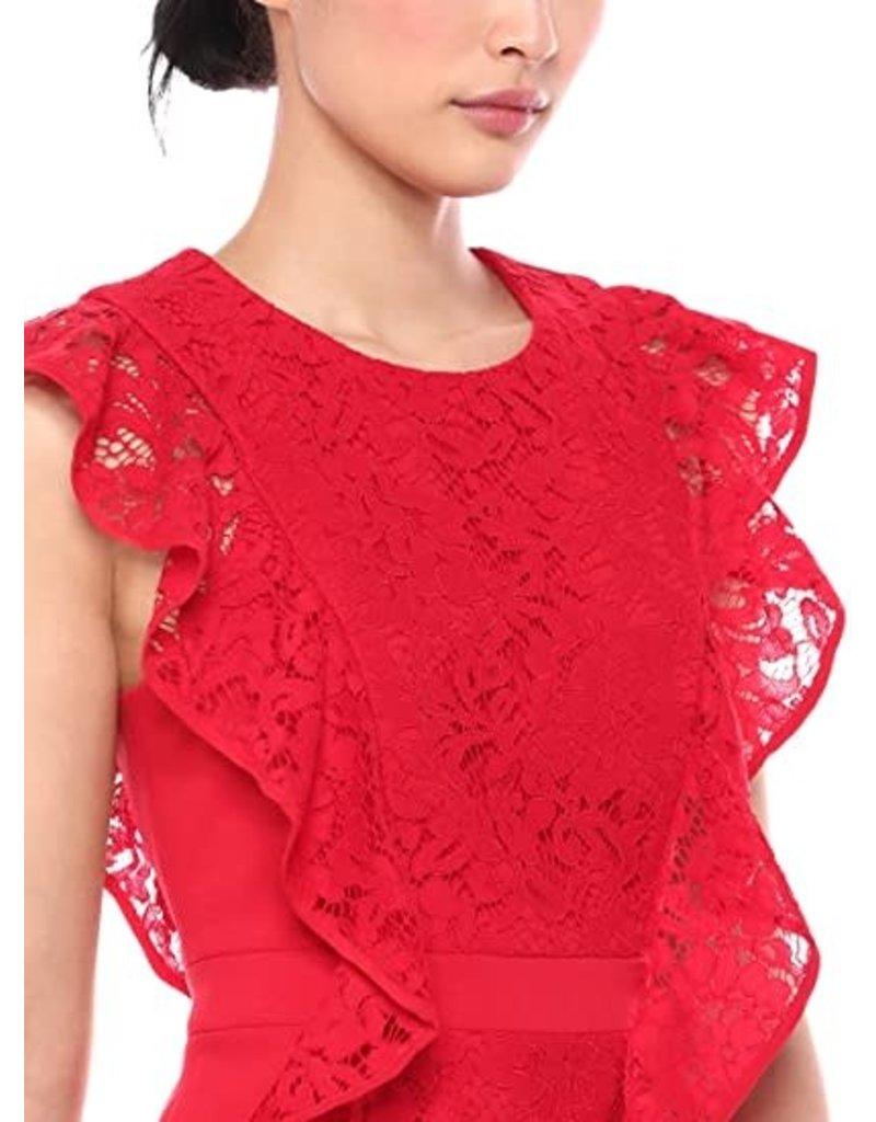 BCBGMAXAZRIA19 RUFFLED LACE SHEATH DRESSES  CTS6170286  BURNT RED  8