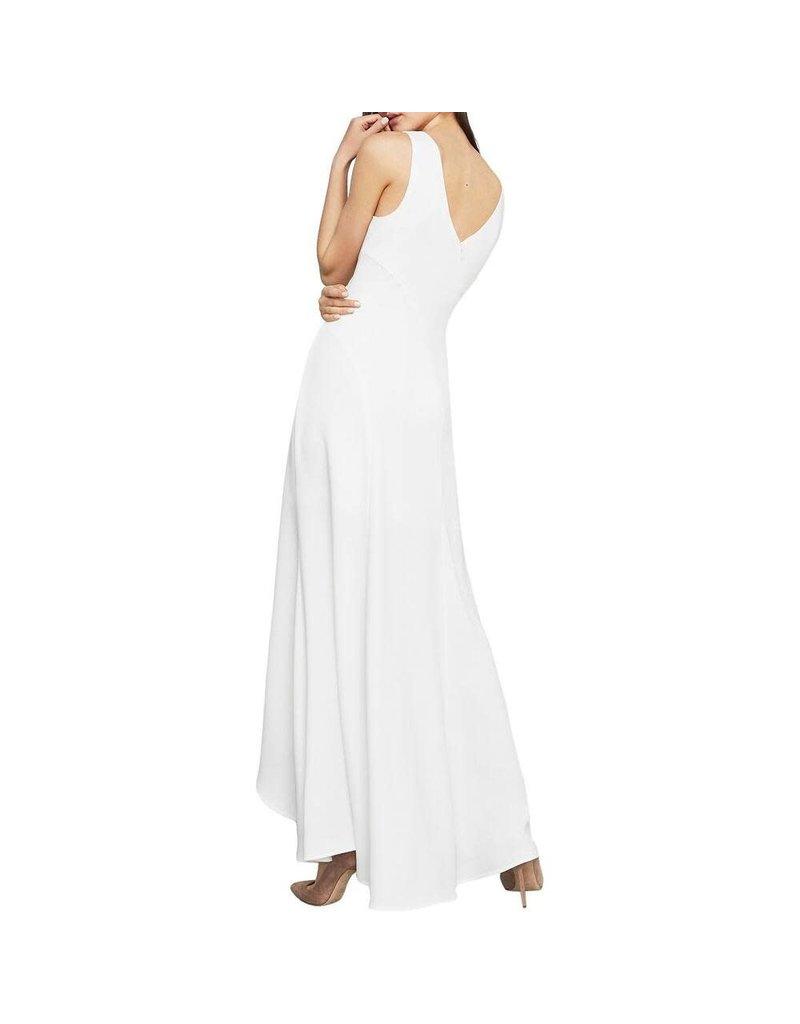 BCBGMAXAZRIA19 CREPE HIGH LOW DRESSES OLM6170282 OFF WHITE 6