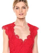 BCBGMAXAZRIA19 SCALLOPED LACE GOWN SHORT SLEEVE FORMAL DRESSES CNV6170277 BURNT RED 12