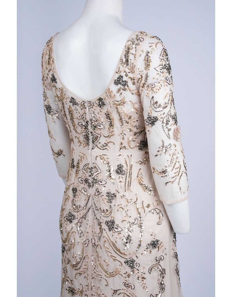 AIDAN MATTOX LONG SLEEVE MESH SEQUIN EMBROIDERED GOWNS CHAMPAGNE 8