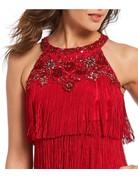 AIDAN MATTOX HALTER FRINGED SHORT DRESSES RED
