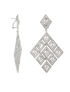 LAUREN G ADAMS SILVER SHIMMER AND GLIMMER FRENCH CLIP EARRINGS RHODIUM OS