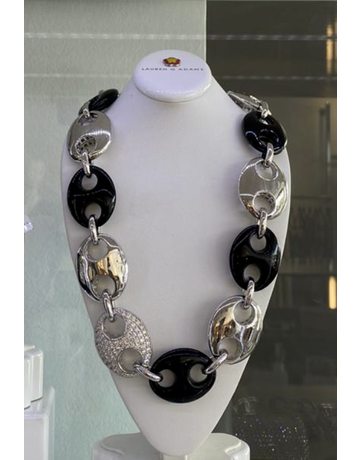 LAUREN G ADAMS SILVER OVAL LINK CHAIN NECKLACES ONYX 20 INCH