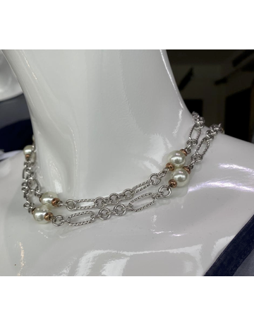 LAUREN G ADAMS SILVER LONG WHITE PEARL NECKLACES SILVER 36 INCH