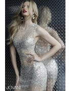 JOVANI SLEEVELESS MESH SEQUIN SHORT GOWNS SILVER NUDE 2