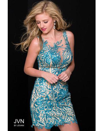 JOVANI SLEEVELESS MESH EMBELLISHED SHORT DRESSES BLUE NUDE