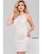 JOVANI SLEEVELESS DEEP-CUT BACK EMBELLISHED SHORT DRESSES IVORY