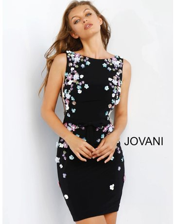 JOVANI SLEEVELESS DEEP CUT BACK AND SIDE FLORAL EMBROIDERED SHORT GOWNS BLACK MULTI 4