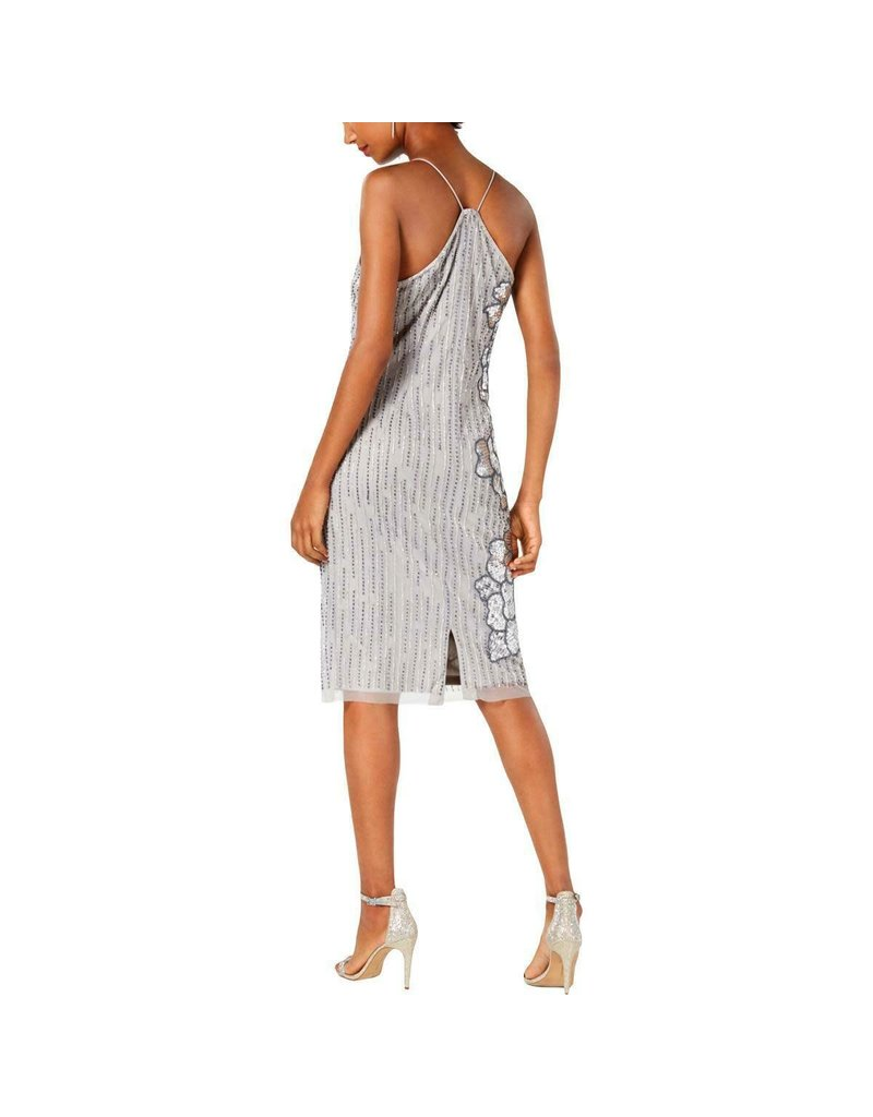 ADRIANNA PAPELL EMBELLISHED SHORT DRESSES SILVER GREY