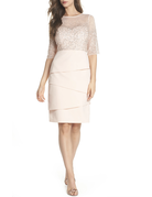 ADRIANNA PAPELL HALF MESH SEQUIN SLEEVES LAYERED BOTTOM SHORT GOWNS BLUSH PINK 16W
