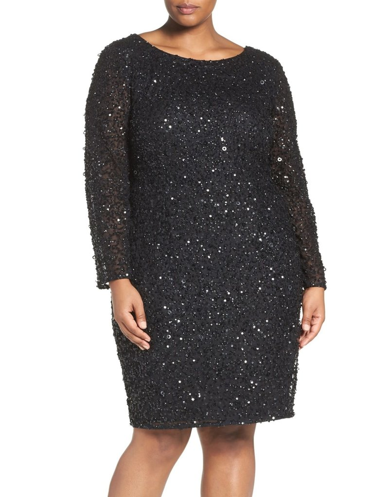 ADRIANNA PAPELL LONG SLEEVE FULLY SEQUIN EMBROIDERED SHORT GOWNS