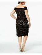 ADRIANNA PAPELL OFF SHOULDER EMBELLISHED PLUS SIZE SHORT DRESSES BLACK ROUGE