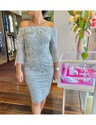 ADRIANNA PAPELL OFFSHOULDER HALF MESH SEQUIN SLEEVES SHORT GOWNS BRIDAL SILVER 6