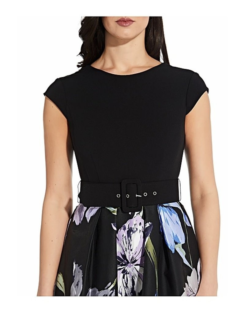ADRIANNA PAPELL PRINTED MIKADO FIT AND FLARE SHORT GOWNS AP1D104237 BLACK MULTI TULIP