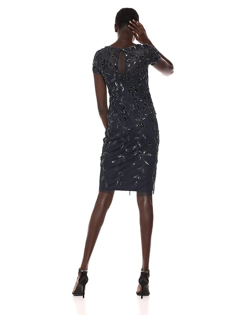 ADRIANNA PAPELL SHORT SLEEVE FLORAL SEQUIN EMBROIDERED KNEE HEIGHT GOWNS TWI LIGHT 14