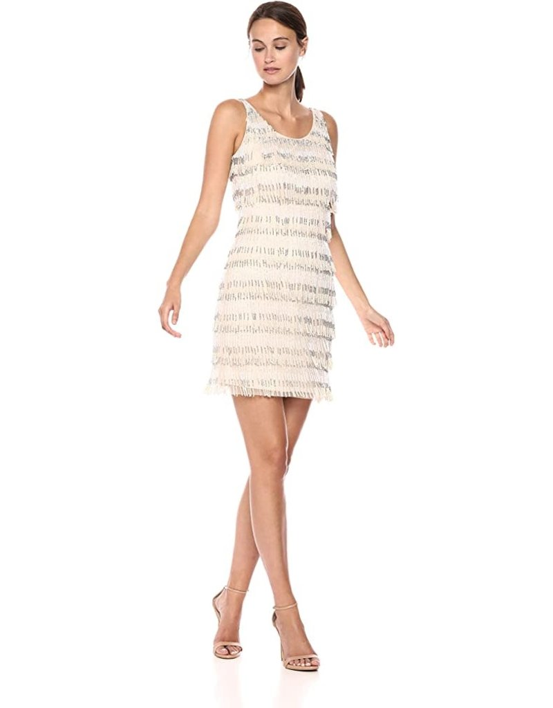 ADRIANNA PAPELL SLEEVELESS BEADS FRINGED SHORT DRESSES SILVER NUDE