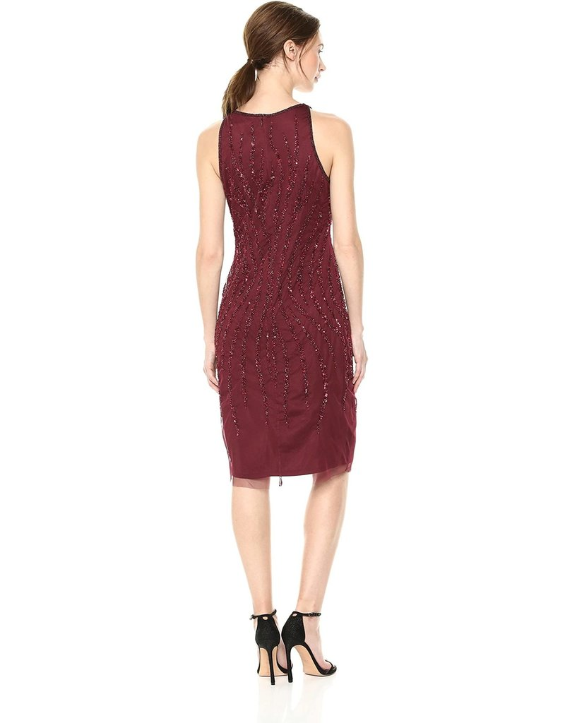 ADRIANNA PAPELL SLEEVELESS MESH SEQUIN EMBROIDERED KNEE HEIGHT GOWNS DEEP WINE 16