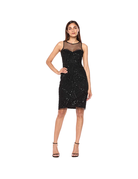 ADRIANNA PAPELL SLEEVELESS MESH SEQUIN KNEE HEIGHT GOWNS BLACK 12