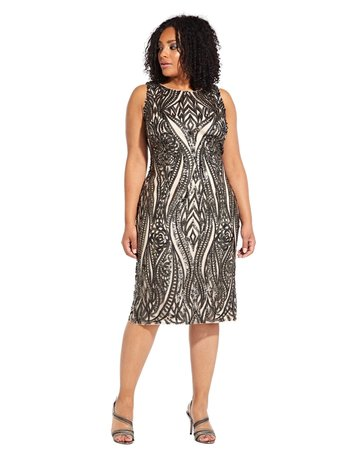 ADRIANNA PAPELL SLEEVELESS SEQUIN EMBROIDERED KNEE HEIGHT GOWNS  BLACK CHAMPAGNE 22W