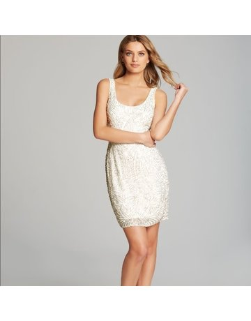ADRIANNA PAPELL SLEEVELESS SEQUIN SHORT GOWNS IVORY 10