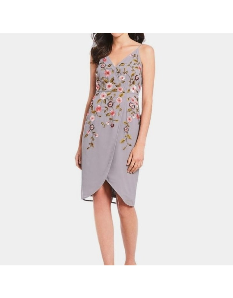 ADRIANNA PAPELL SPAGHETTI STRAPS FLORAL OVERLAPPING SHORT DRESSES GREY