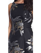 ADRIANNA PAPELL JACQUARD SHORT GOWNS AP1E205120 BLACK CHAMPAGNE 10