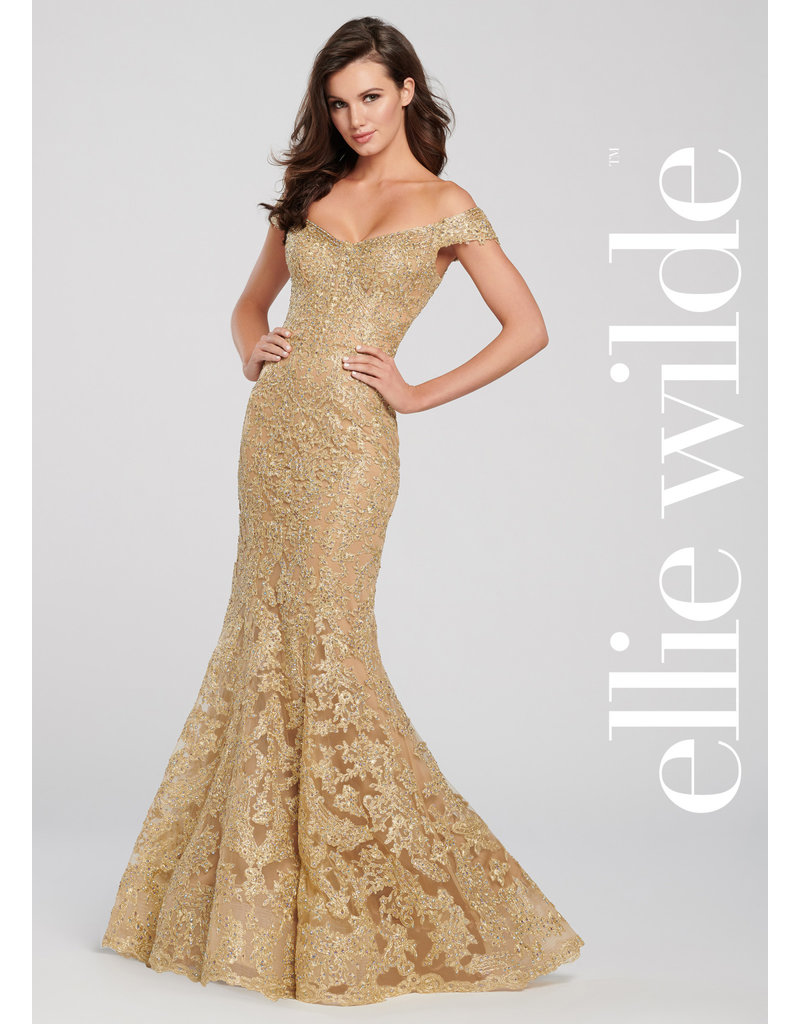 ELLIE WILDE OFFSHOULDER TULLE TRUMPET METALLIC LACE STONE ACCENT GOWNS GOLD 14