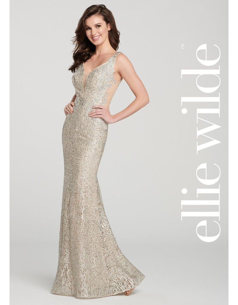 ELLIE WILDE SLEEVELESS FIT AND FLARE BEADED MESH SIDES GOWNS CHAMPAGNE 0