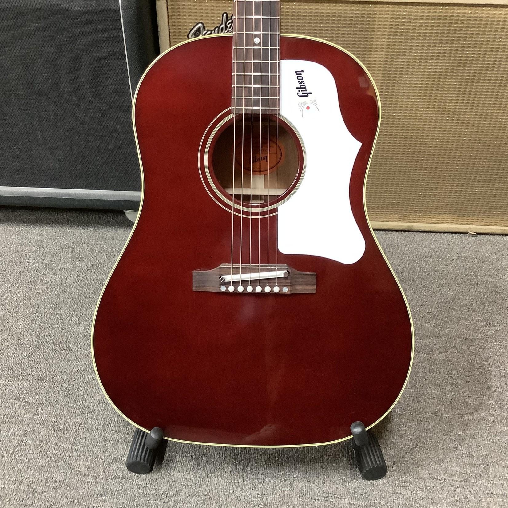 Gibson Brand New 2021 Gibson J-45 with Adjustable Bridge Saddle, Wine Red
