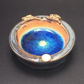 Ceramic Incense Holder with Blue Glass