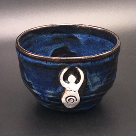 Altar Bowl in Blue with Goddess