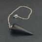 Agate Export Black Agate 12 Faceted Pendulum